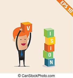 doosje, eps10, stapelen, -, illustratie, vector, zakenman, spotprent