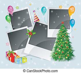 doosje, foto, boompje, back, kerstmis