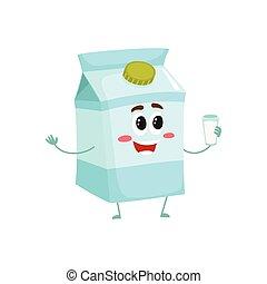 doosje, gekke , schattig, verlegen, karakter, glimlachen, melk