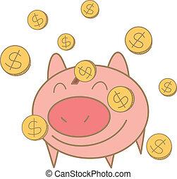doosje, geld, varken, het vallen, munt, tekening, spotprent