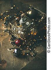doosje, gelul, verticaal, guirlande, licht, kerstversiering, samenstelling
