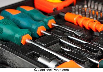 doosje, gereedschap, set, black