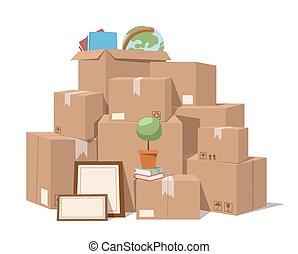 doosje, gevulde bloem dienst, verhuizen, illustratie, vector