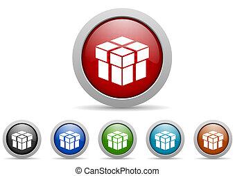 doosje, glanzend, web beelden, set, op wit, achtergrond