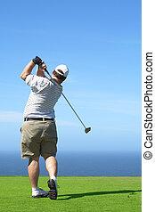 doosje, golfspeler, tee