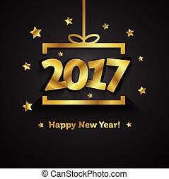 doosje, gouden, cadeau, groet, jaar, nieuw, 2017, kaart, vrolijke