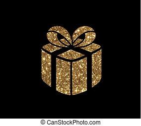 doosje, gouden, cadeau, vrijstaand, vakantie, schitteren,...