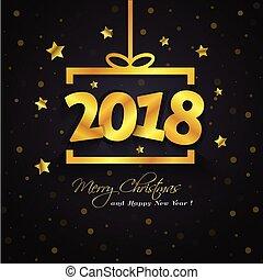 doosje, gouden, cadeau, year., 2018, nieuw