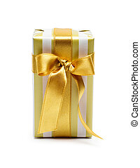 doosje, gouden, toon, cadeau, goud, duo, satijn lint