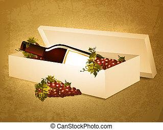 doosje, grunge, achtergrond, fles, druif, rode wijn