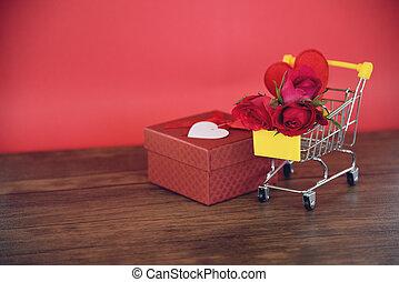 doosje, hart, bloem, shoppen , cadeau, valentines, /, rozen, volle, kar, dag, rood