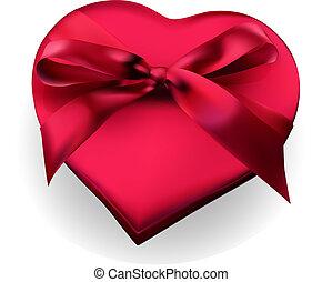 doosje, hart, cadeau, gevormd, lint, rood