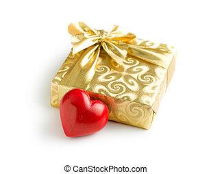 doosje, hart, cadeau, goud, rood