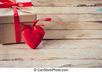 doosje, hart, cadeau, ruimte, hout, tafel, rood