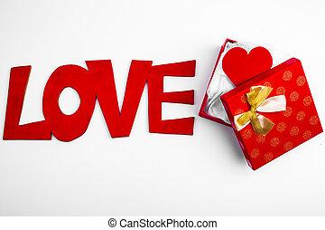 doosje, hart, cadeau, valentijn, open, rood