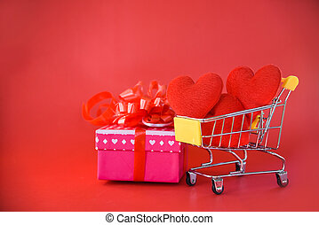doosje, hart, concept, shoppen , cadeau, valentines, kar, boog, roze, kado, liefde, dag, lint, rood