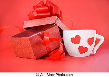 doosje, hart, koffie, cadeau, kop, valentines, achtergrond, witte , open, dag, rood