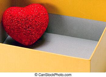 doosje, hart, liefde, cadeau, open, rood