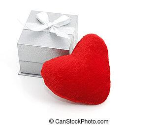 doosje, hart, rood, cadeau