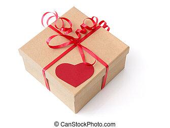 doosje, hart, rood, cadeau, valentijn