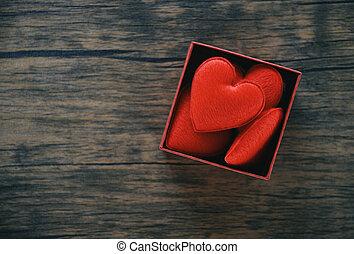 doosje, hart, volle, romantische, cadeau, /, rood, verrassing, open, kado