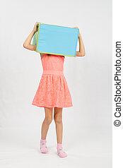 doosje, hoofd, zijn, droeg, meisje