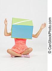 doosje, hoofd, zijn, haar, armen, meisje