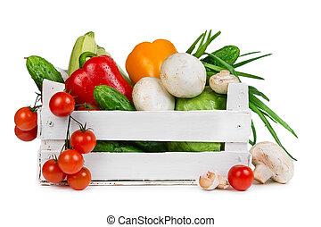 doosje, houten, groentes, fris