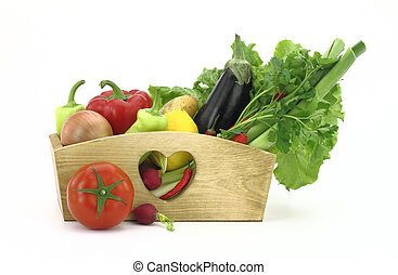 doosje, houten, groentes, volle, fris