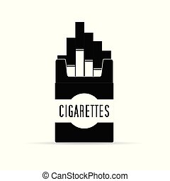 doosje, illustratie, sigaret, black , witte , troep