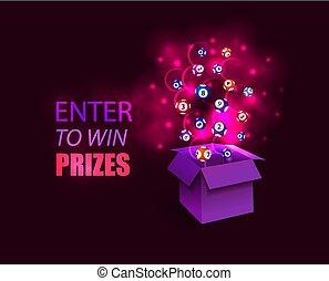 doosje, image., winnen, gloeiend, illustration:, prijzen, vector, surprize, binnengaan, text:, open