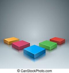 doosje, infographic., illustratie, digitale , icon., abstract, 3d