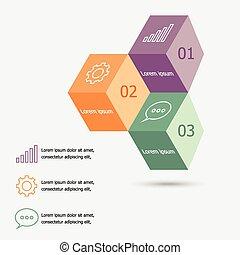doosje, infographic, ontwerp, mal, 3d