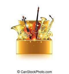 doosje, instrumenten, vrijstaand, vector, witte , muzikalisch
