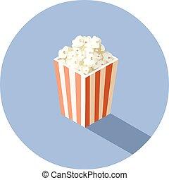 doosje, isometric, bioscoop, voedingsmiddelen, illustratie, vector, popcorn