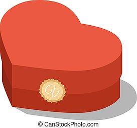 doosje, isometric, cadeau, illustratie, gehoorde, valentin's, dag, rood