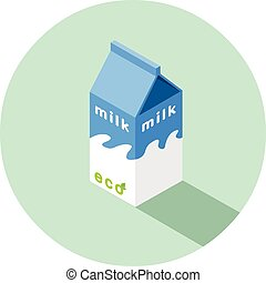 doosje, isometric, eco, illustratie, vector, melk