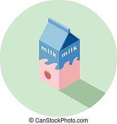 doosje, isometric, illustratie, aardbei, vector, melk