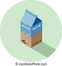 doosje, isometric, illustratie, chocolade, vector, melk