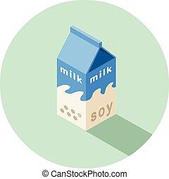 doosje, isometric, illustratie, vector, soy melk