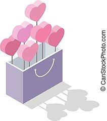 doosje, isometric, valentines, cadeau, inzicht, illustratie, vector, hartjes