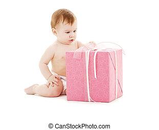 doosje, jongen, baby, cadeau, groot