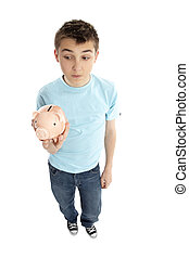 doosje, jongen, geld, piggy, vasthouden, bank