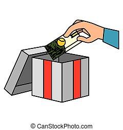 doosje, kaart, kado, cadeau, hand