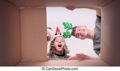 doosje, karton, gezin, opening