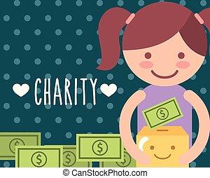 doosje, kawaii, weinig; niet zo(veel), geld, meisje, karton, liefdadigheid