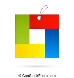 doosje, kleurrijke, cadeau, symbool, -, vrijstaand, vector,...
