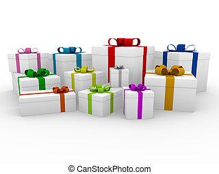 doosje, kleurrijke, cadeau, wit rood, 3d