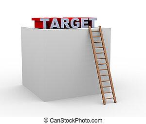 doosje, ladder, doel, 3d