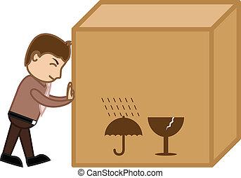 doosje, lading, groot, voortvarend, vector, man